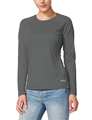 Baleaf Women's UPF 50+ Sun Protection T-Shirt Long Sleeve Outdoor Performance Charcoal Gray Size - Run Active Tee