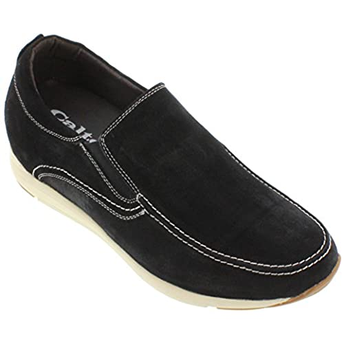 CALTO - G4903-2.8 Inches Taller - Height Increasing Elevator Shoes-Nubuck Black Slip-on Casual