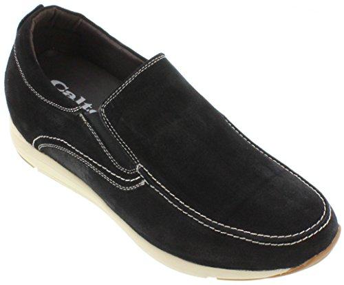 calto-g4903-8,1cm Grande Taille-Hauteur Augmenter Ascenseur shoes-nubuck à enfiler Noir Décontracté