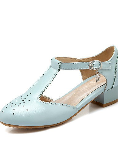 GGX/Damen Schuhe PU Sommer-/, Round Toe Heels Büro & Karriere/Casual Chunky Ferse Schnalle/chainblack/blau/rosa/rot/ black-us10.5 / eu42 / uk8.5 / cn43