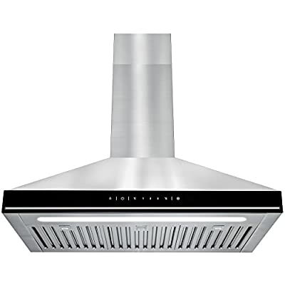 """Golden Vantage 30"""" Wall Mount Stainless Steel Black Touch Control Panel Kitchen Cooking Fan Range Hood Vent"""