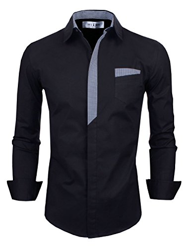 (Tom's Ware Mens Premium Casual Inner Contrast Dress Shirt TWNMS310S-CMS05-BLACK-US M)