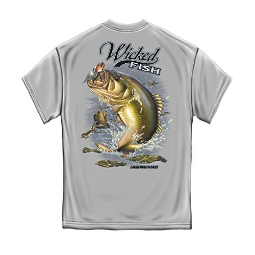 Fishing T-Shirt Wicked Fish Large Mouth Bass With Popper Jumping Frog Ice Gray