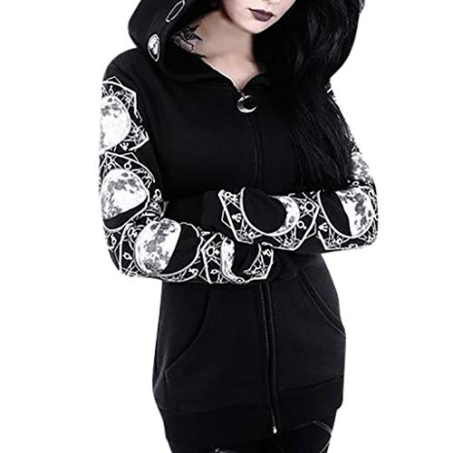 TWGONE Zipper Hoodie Women Black Long Sleeve Gothic Vintage Sweatshirt Plus Size Punk Moon Print Coat(Large,Black)