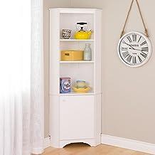 Prepac Elite Tall 1 Door Corner Storage Cabinet, White