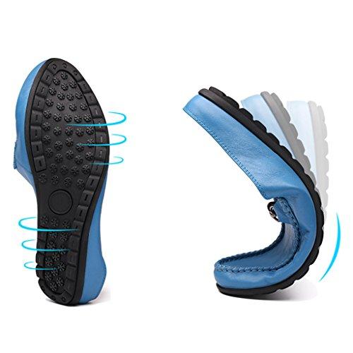 Herren Lederschuhe Sommer Herren Hausschuhe Erbsen Halb weiche Haut Freizeit Sandalen Lounger Herrenschuhe ( Farbe : Weiß , größe : EU39/UK6 ) Blau