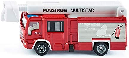 SIKU 1749, Magirus Multistar TLF mit Teleskopmast Feuerwehrauto, 1:87, Metall/Kunststoff, Rot/Weiß, Ausziehbare Leiter