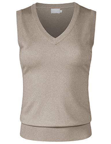 JSCEND Women's Solid Basic V-Neck Sleeveless Soft Stretch Pullover Sweater Vest Top Camel L