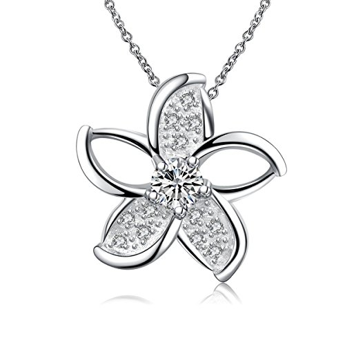Plated Sterling Silver Hawaiian Plumeria Flower Pendant Necklace for Women Crystal Jewelry