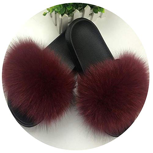 Women's Fox Fur Slipper Flat Beach Sandals Hot Female Shoes Plush Furry Slides Outdoor Shoes Lady Shoes Burgundy