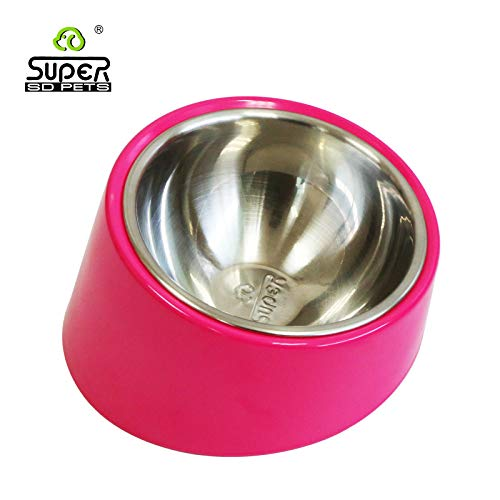 pink Red 17x9cm pink Red 17x9cm ZUOZUOZUO Pet Supplies Pet Dog Supplies Food Bowl Feeder Double Bowl Stainless Steel Rice Bowl Dish Tableware Oblique Bowl pink Red 17X9Cm