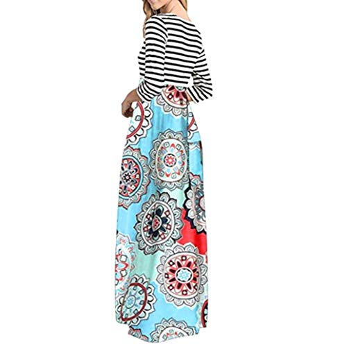 aliveGOT Women's Striped Floral Print Long Sleeve Tie Waist Maxi Dress with Pockets (Light Blue, L) by aliveGOT (Image #2)