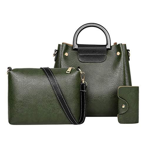 Bsjmlxg 3Pcs Women Solid Color Leisure Fashion Simple Casual Vintage Multifunction Leather Handbag+Messenger Bags+Wallets ()