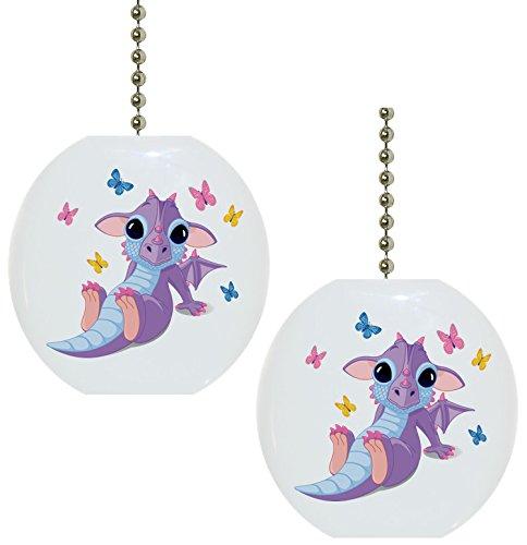 Set of 2 Baby Dragon Butterflies Solid Ceramic Fan Pulls