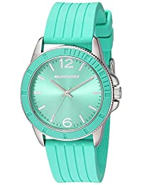 Skechers Women's Quartz Metal and Silicone Casual Watch, Color:Green (Model: SR6094)