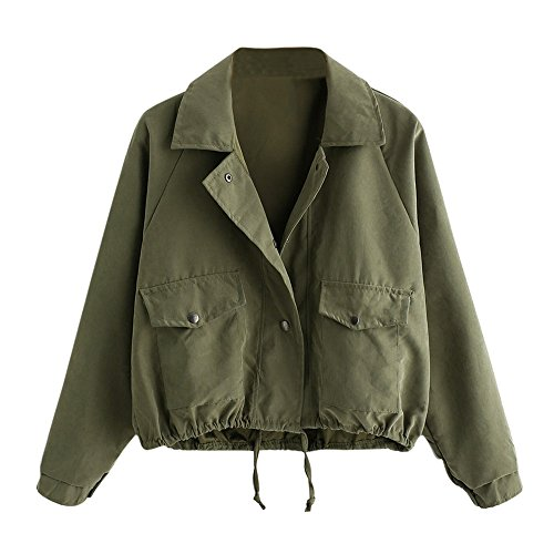 GOVOW Pocket Jacket Women Travel Puffer Autumn Fashion Short Pink Button Coat Cardigan on Clearance(US:14/CN:XL,Green )