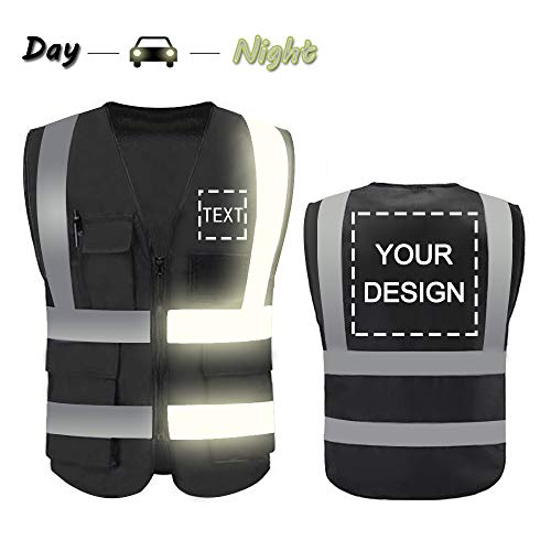 High Visibility Safety Vest Custom Your Logo Protective Workwear 5 Pockets With Reflective Strips Outdoor Work Vest (Black (L))