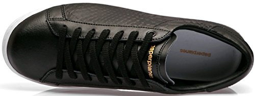 Paperplanes-1353 Sneaker Unisex In Pelle Moda Classica Scarpe Pitone Nero