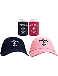 79638423816 Funny Sailing Captain and First Mate Hat Embroidered Cap and Funny Beer  Coolies Can Coolers Gift Set Bundle