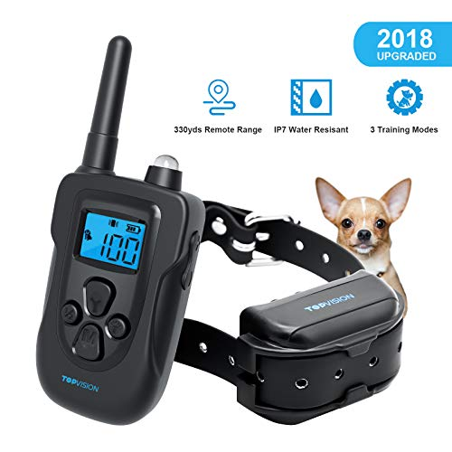 Dog Training Collar, TOPVISION Rechargeable Dog Shock Collar w/3 Training Modes, Beep, Vibration and Shock, 100% Waterproof Training Collar, 330Yards Remote Range, 0~99 Shock Level