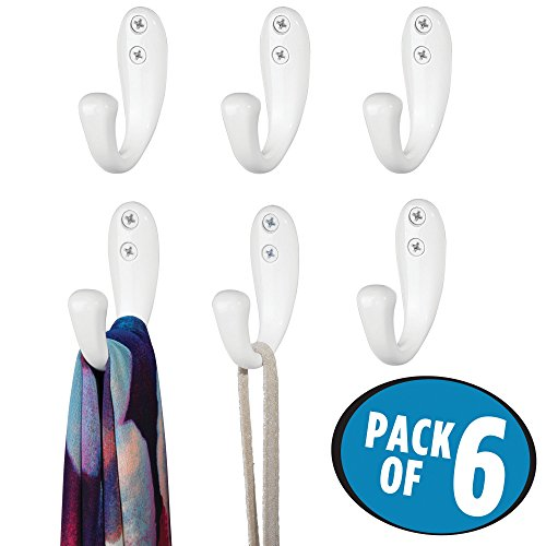 mDesign Wall Mount Decorative Solid Metal Single Storage Organizer Hook for Coats, Hoodies, Hats, Scarves, Purses, Leashes, Bath Towels & Robes – Heavy Duty, Hardware Included, Pack of 6, (Organizing Kids Bedroom)