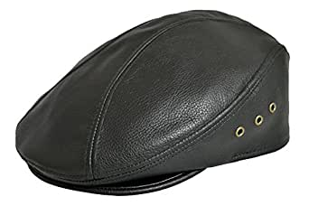 WINNER CAPS/EMSTATE Genuine Made in The USA Leather IVY Flat Cap (Small/Medium, Black)