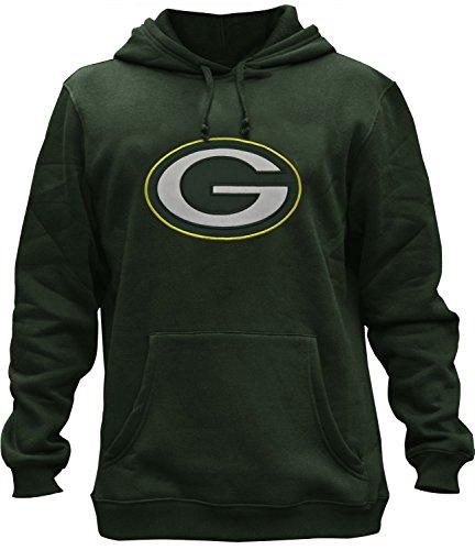 Dollod Mens Athletic Football Packers Pullover Hoodie (Green, L) (Bay Green Hoodie Packers)