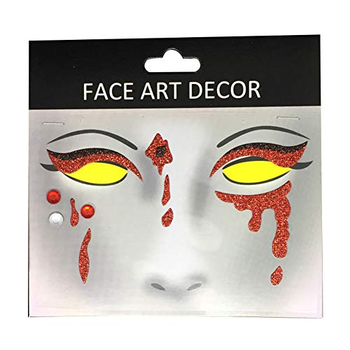 wintefei Face body Decor Glitter Temporary Tattoo Stickers Halloween Party Stage Makeup Prop FS03 -