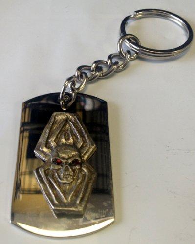 Metal Ring Key Chain Skull Dead Head Spider w//Crystals Eyes Metal Emblem