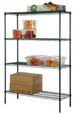 Focus Foodservice FK244874GN Green Epoxy Coated Shelving Kit, 4 24