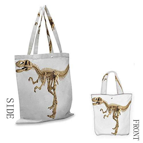 DinosaurWashable shopping bagFossil Dino Skeleton Bones Realistic Image Dangerous Dead Extinct ReptileHandmade shopping bags W15.75 x L13.78 Inch Pale Brown White ()