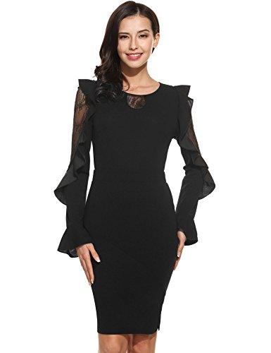 ANGVNS Women A-Line Long Sleeve Split Cocktail Party Midi Dress(Black,X-Large)