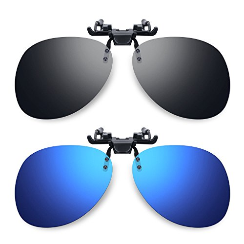 Besgoods 2Pcs Mirror Polarized Clip-on Flip up Sunglasses Sports, Blue - On Clip Vintage Sunglasses