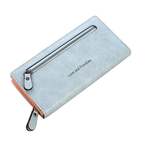 Women Solid Color Coin Purse Long Wallet Card Holders Handbag LB(OneSize,Light Blue) -