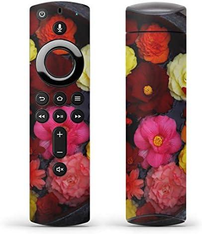 igsticker Fire TV Stick 第2世代 専用 リモコン用 全面 スキンシール フル 背面 側面 正面 ステッカー ケース 保護シール 000953 フラワー 花 カラフル