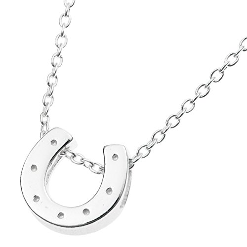 925 Sterling Silver Good Luck Horseshoe Dangle Charm Chain Necklace 16 Inches + 1 Inch (Tiffany Horseshoe Necklace)