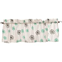 Patterned Window Valance - 16 x 60 - 100% Cotton (Turquoise/Grey Dandelion)