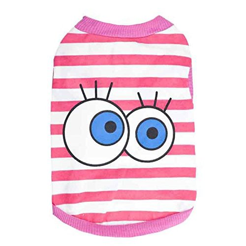 DroolingDog Pet Dog Shirts Cute Eyes Striped Puppy Tshirt for Small Dogs Girl, Large, Pink