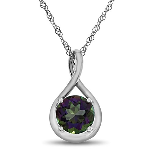Finejewelers 7mm Round Mystic Topaz Twist Pendant Necklace Chain Included Sterling Silver