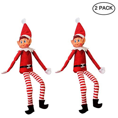 Yoodelife 12#039#039 Long Leg Soft Body Vinyl Face Plush Dolls Elf with Hat amp Tag for Christmas Holiday New Year Decoration Gift 2 Pack