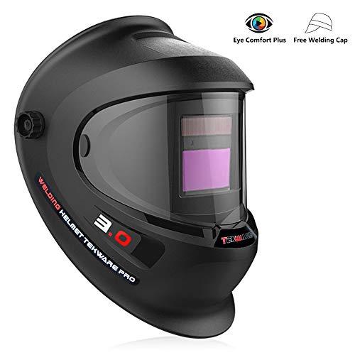 (Tekware Welding Helmet 4C Lens Technology Solar Power Auto Darkening Hood True Color LCD Welder Mask Breathable Grinding Helmets with Adjustable Shade Range)
