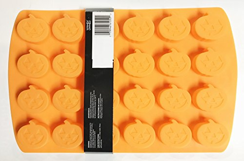 Orange Silicone Pumpkin Halloween Mold - Cupcake Pan, Candy Mold or Jell-O Mold (Makes 24) ()