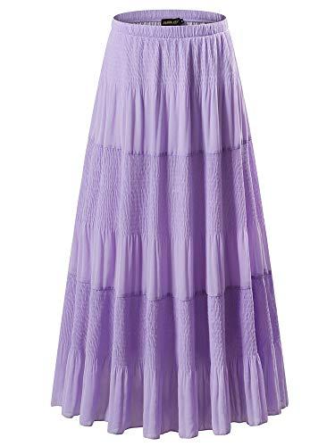 (NASHALYLY Women's Chiffon Elastic High Waist Pleated A-Line Flared Maxi Skirts (M, Light Purple))