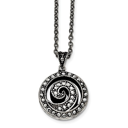 Chisel Marcasite Swirl Round Necklace in Antiqued Stainless Steel, 18 Inch