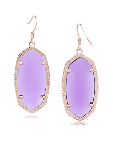Fashion Metal Oval Crystal Quartz Drop Dangle Earrings for Women (Rose(Amethyst)) -