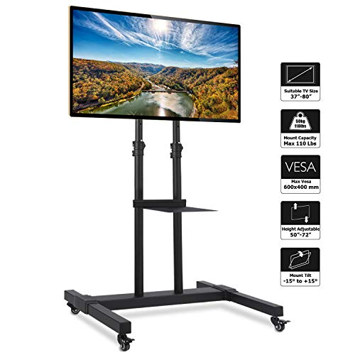 (Rfiver Mobile TV Stand Rolling TV Cart with Universal Mount and Wheels Fits Most 37 42 47 50 55 60 65 70 75 80 inch LCD LED OLED Plasma Flat Panel and Curved TVs,Heavy Duty Black Display TV Trolley)