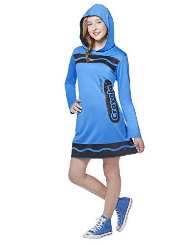 Spirit Halloween Costumes For Tweens (Spirit Halloween Tween Sparkle-Print Hooded Crayon Costume - Crayola,Cerulean Blue,XL)