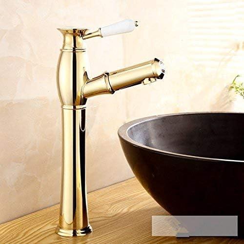 Zxyan 蛇口 立体水栓 バスルームのシンクのためのバスルームのシンクミキサータッププルアウト温水と冷水ゴールドタップ トイレ/キッチン用