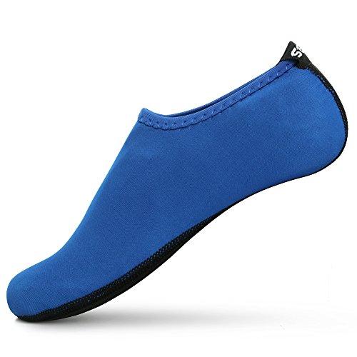 SENFI Unisex Wasser Haut Schuhe Barfuß Aqua Socken für Pool-Wasser-Aerobic-Übung 01blau