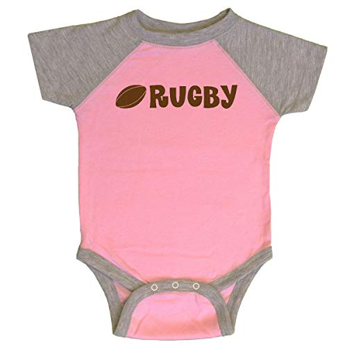 inktastic - Rugby Sports Ball Logo Infant Creeper Newborn Pink and Heather 1f5b0